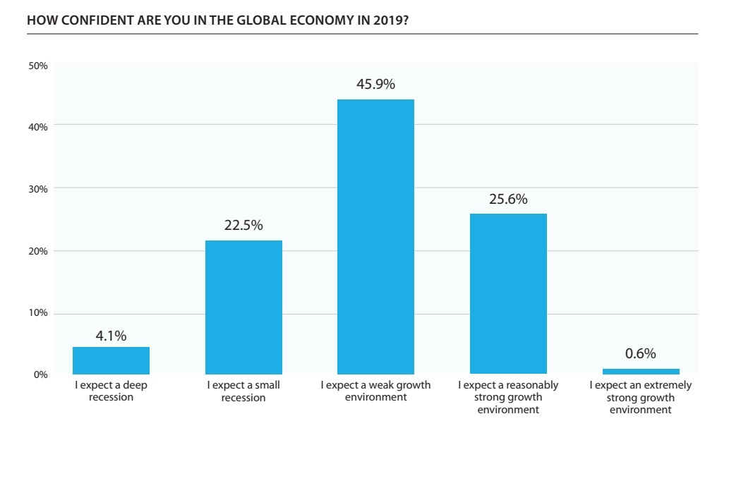 Over a quarter of supply chain professionals surveyed for new report believe that there will be a recession in 2019